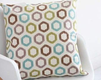 Hexagon Pattern Linen Fabric by Yard (Natural Color)