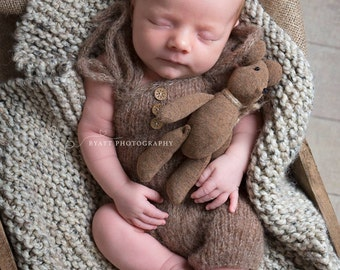RTS knit romper in off white or brown/ unique and cute shorts for newborn/ twins photo prop