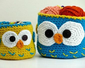 Crochet Owl Basket, Owl Home Decor Basket, basket Storage, Children Organiser Basket, Kids room decor,