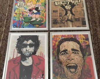 Alec Monopoly framed art 4 pc. collection Framed lithograph print street art Ready to hang!!