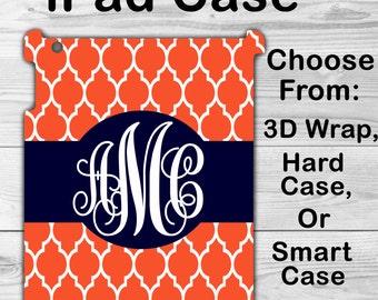 Monogram iPad Mini 1/2/3 Case Personalized iPad Air 1/2 Orange Morrocan Lattice iPad 2/3/4 Smart Case iPad Retina Flip Case, 3D Case #2161