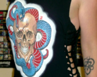 Shredded Skull Tshirt/Shredded Skull Top/Shredded Clothing/Skull Tee/Skull Shirt/Upcycled Tshirt/Rock and Roll Shirt/Kat Von D