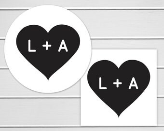 Wedding Envelope Seals, Heart Stickers, Envelope Seals, Wedding Favor Stickers, Wedding Envelope Seals (#180)