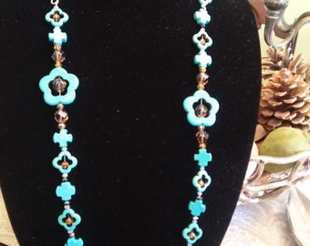 Turquoise colored Howlite Necklace