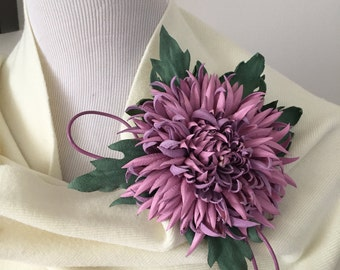 Pink Chrysanthemum Flower Leather Brooch.