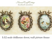 dollhouse wall art decor, miniature wall picture frames, cameo picture art, wall hanging frame, home decor mini picture wall decor accessory