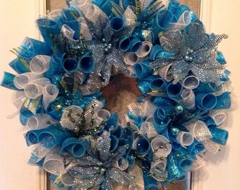 """Large 24"""" blue/white/silver Christmas deco mesh curly wreath - FREE SHIPPING!"""