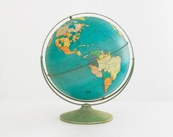 """1960's ohio art 10"""" metal world globe, vintage 10"""" metal world globe, ohio art metal globe, vintage world globe, metal globe, world globe"""
