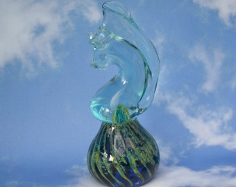 Vintage Mdina Glass Seahorse Paperweight Swirled Coloured Interior Ocean Sea Inspired Stylised Figure Great Collectors Gift Seaside Cottage!