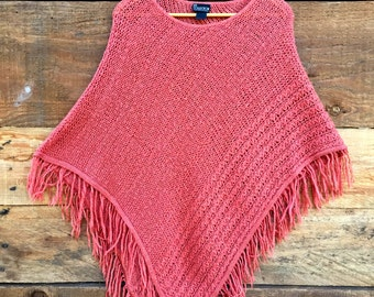 Vintage Coral Colored Knit Poncho- Small/Medium