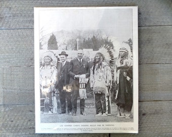 The great Indian chiefs received by Mr  Harding in Arlington. Vintage  French  illustration print.  Ready to Frame.