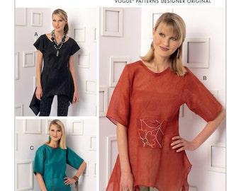 Vogue Pattern V9188 Misses' Handkerchief-Hem Tops with Center Pocket