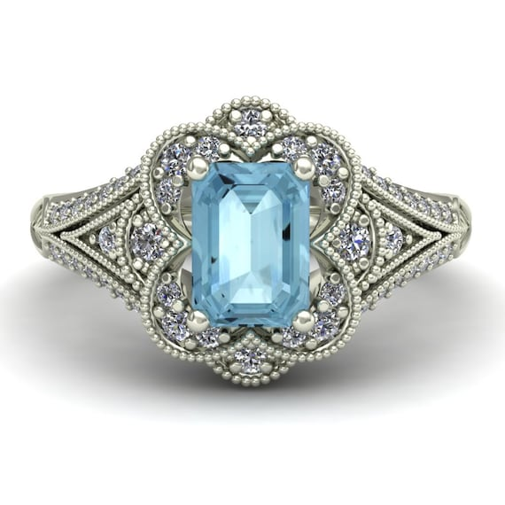 aquamarine engagement ring emerald cut by charlesbabbdesigns