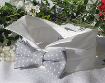 Dog Bow Tie Collar~Light Grey with White Polka Dots~Wingtip Tuxedo Dog Collar~Dog Wedding Collar~Wedding Dog Attire~Dog Ring Bearer~