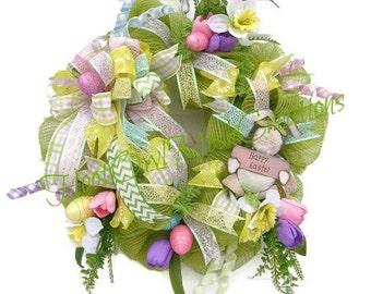Happy Easter Wreath-Easter Wreath-Green Burlap Mesh Wreath-Easter Mesh Wreath-Spring Wreath-Easter Egg Wreath-Spring Wreath-Ready to Ship