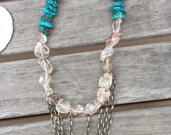 Arizona turquoise, crytals beads statement necklace
