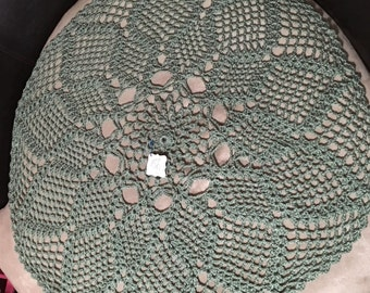 Handmade Crochet Doily Baby Blanket and Cardigan ~ Sage Green