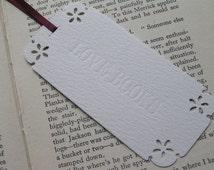 Letterpress bookmark - LOVE BOOKS - debossed with ribbon