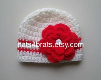 Baby Crochet Flower Hat, Baby Flower Hat, Baby Girl Hat, Newborn Photo Prop, Infant Flower Hat, Crochet Baby Hat, Girls Flower Hat, Newborn