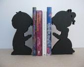 "Praying Children: Book Ends, Shelf Decor, 1"" Thick Wood  Boy/Girl Silhouette Book Ends"