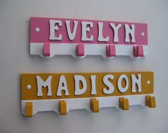 Coat Hanger Girl's Room Personalized with Name Many Color Choices