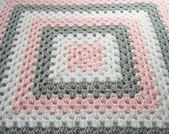 Baby Girl Afghan, Pink Gray and White Blanket, Granny Square Afghan, Crochet Baby Blanket