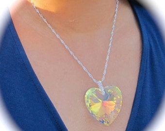 Swarovski AB Crystal Necklace. Swarovski Heart Necklace, Swarovski Crystal,Necklace.