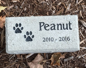 Pet memorial grave marker super thick heavy duty concrete engraved and color