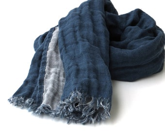 blue gray men's linen scarf