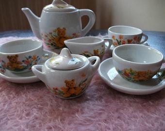Beautiful & Stunning Hand Painted Ceramic  Teddy Bear Tea Set OOAK