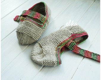 "Knitted slippers Eco / Вязаные тапочки ""Эко"""