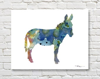 Blue Burro Art Print - Abstract Donkey Watercolor Painting - Wall Decor