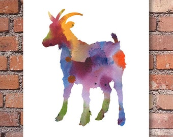 Billy Goat - Art Print - Abstract Watercolor Painting - Wall Decor