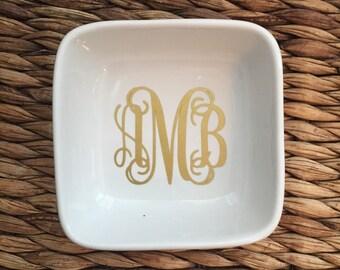 Custom Ring Dish - Monogram Ring Dish - Ring Dish - Ring Holder - Personalized Ring Dish - Engagement Gift - Porcelain Ring Dish