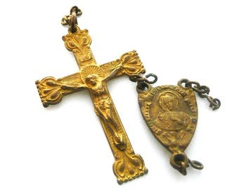 Vintage French Rosary Crucifix and Centerpiece Medal, Rosary Parts