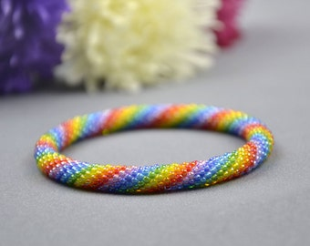 Beaded Bracelet Boho Bracelet Rainbow Bracelet Seed Bead Bracelet Multi-Colored Colorful Bracelet Bead Crochet Rope Girlfriend gift