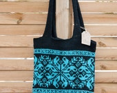 Knitted Nordic Wool Tote Bag in Scandinavian tradition turquoise&black | Handmade Norwegian Selbu Snowflake Gift For Her | READY TO SHIP
