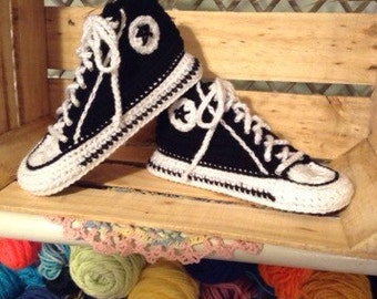 Slippers, Houseshoes, Crochet, Converse, Made to Order