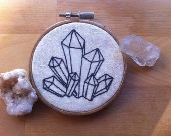 Gemstone Hand-Stitched Embroidery Hoop Frame