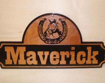 Personalized WOODEN Horse Stall Name Sign.Laser ENGRAVED.GIFT.