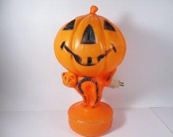 Vintage Halloween Jack O' Lantern Black Cat Blow Mold - Lighted Halloween Blowmold Pumpkin