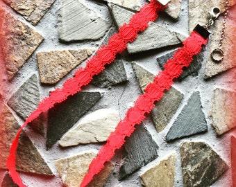Red Lace Designed Adjustable Choker