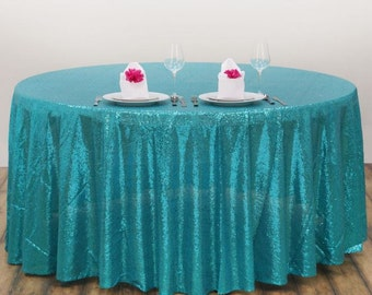 Turquoise Sequin Tablecloth, Sequin Table Cloth, Turquoise Table Cloth, Turquoise  Tablecloth, Winter