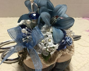 Glammy Country Blue and Cream Pincushion