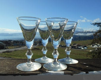 """Cordials with Wafer Stems, 2-3/8"""" Diameter x 4-3/4"""" Tall, Set of 4"""