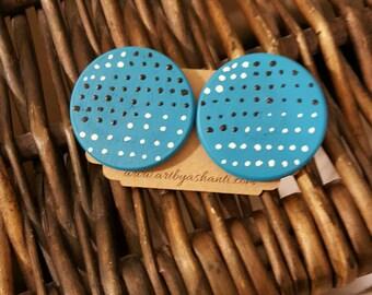 Handpainted earrings, wooden earrings, blue earrings, stud earrings,  statement earrings