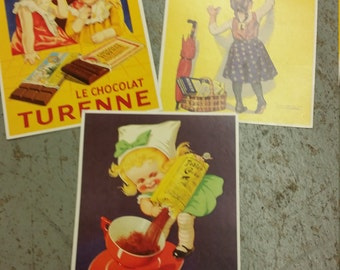 Lot of three Chocolate Advertising Postcards made in France in 1998 all feature chocolate and children