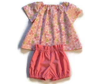 PINK FLORAL OUTFIT, 2 piece set, baby peasant blouse, high waist bloomers, size 3 6 12 18 24 months, girls cotton summer clothing