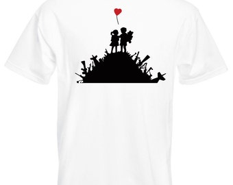 Mens T-Shirt with Banksy Street Art Graffiti Design / Warfare Children Playground Shirts / Love Heart Shirt + Free Decal Gift