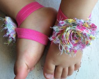 Barefoot sandals; baby barefoot sandals; summer floral sandal ; toddler barefoot sandal; sandal